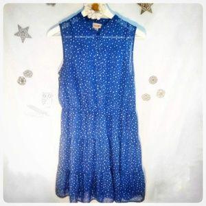 Semi-Sheer Dottie Blue Dress